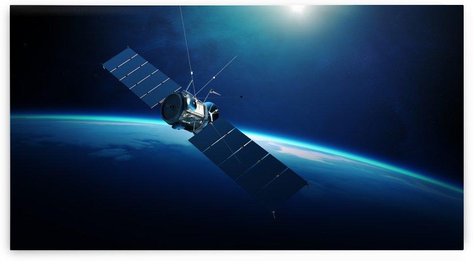 Communications satellite orbiting earth by Johan Swanepoel