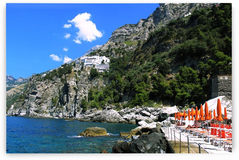 Amalfi Coast Landscape - Praiano Beach by Bentivoglio Photography