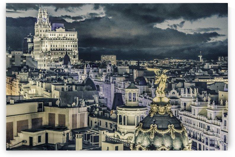 Madrid Cityscape Night Scene Aerial View  by Daniel Ferreia Leites Ciccarino