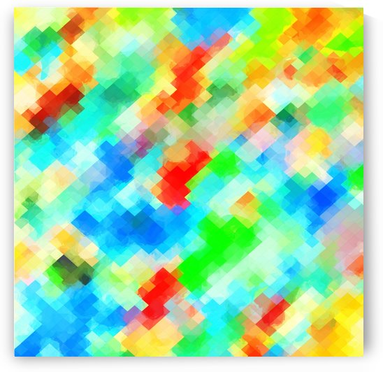 psychedelic geometric pixel abstract pattern in blue green red orange by TimmyLA