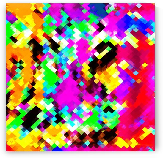 psychedelic geometric pixel abstract pattern in pink purple blue green yellow by TimmyLA