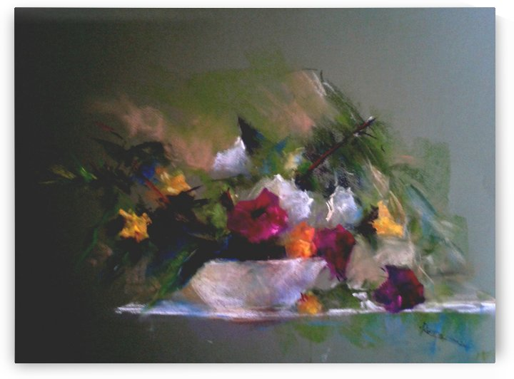 Flowers with white bowl by Roniyana Lane