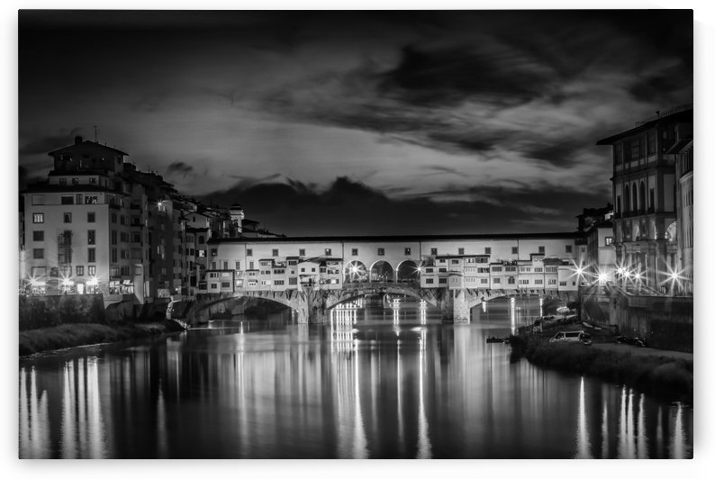 FLORENCE Ponte Vecchio at Sunset   Monochrome by Melanie Viola