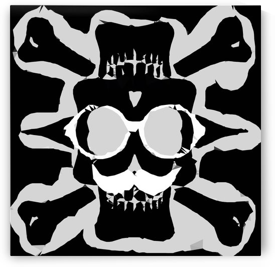 old funny skull with glasses art portrait in black and white by TimmyLA