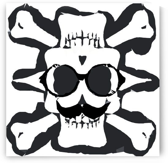 old funny skull and bone art portrait in black and white by TimmyLA