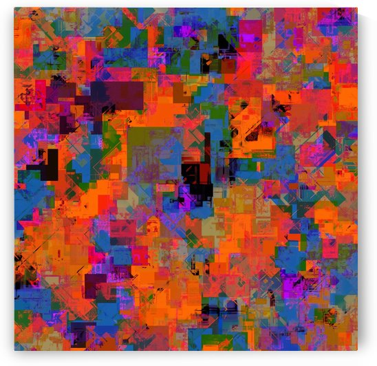 psychedelic geometric square pattern abstract background in orange blue red by TimmyLA