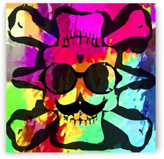 old vintage funny skull art portrait with painting abstract background in red purple yellow green by TimmyLA