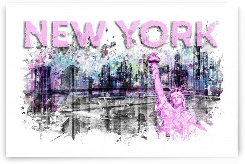 Modern Art NEW YORK CITY Skyline Splashes | pink by Melanie Viola