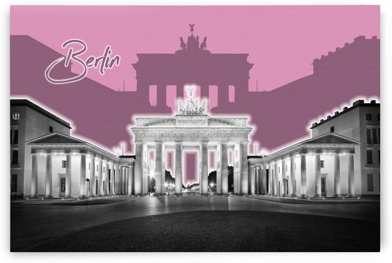 BERLIN Brandenburg Gate | Graphic Art | pink by Melanie Viola