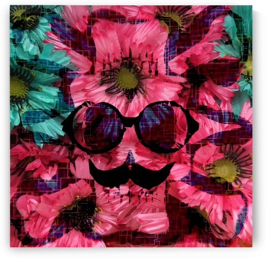 vintage old skull portrait with red and blue flower pattern abstract background by TimmyLA