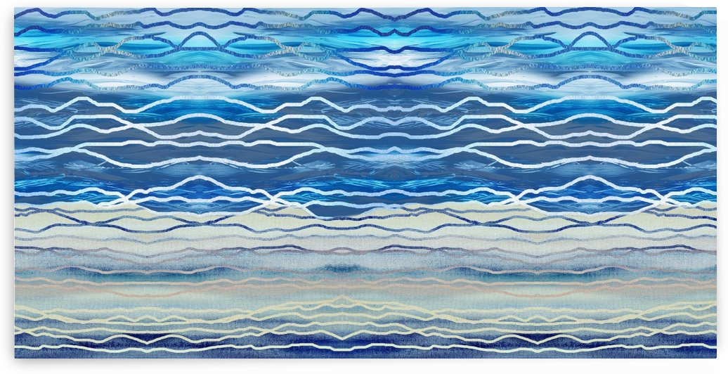 Ocean Waves Beach House Interior Decor Blue Abstract by Irina Sztukowski