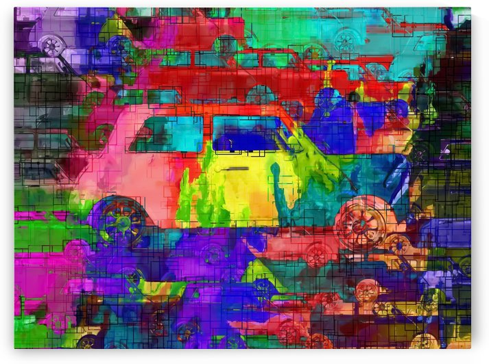 old vintage car with colorful painting texture abstract background by TimmyLA