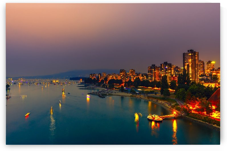 City lights of the night metropolis on the shore of the ocean by Viktor Birkus