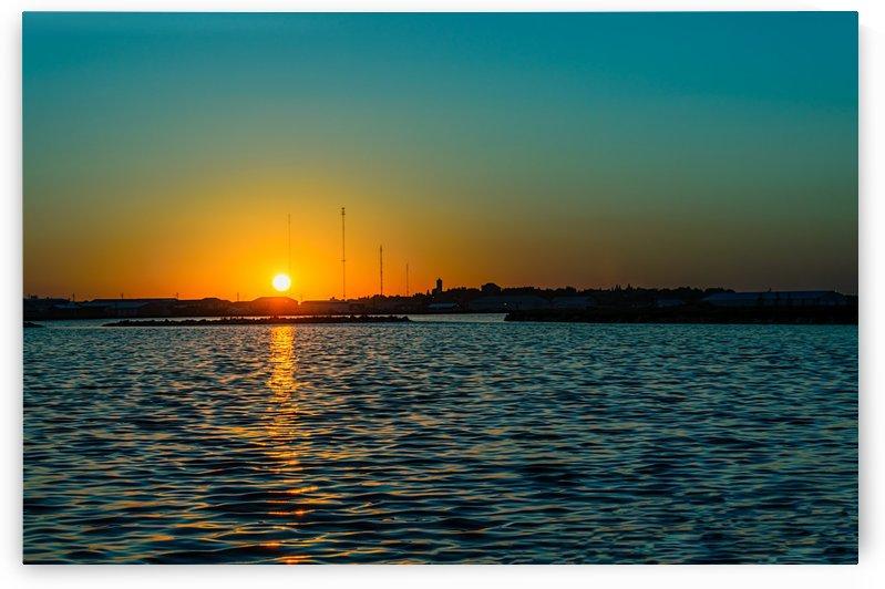 Night city in yellow-emerald sunset by Viktor Birkus