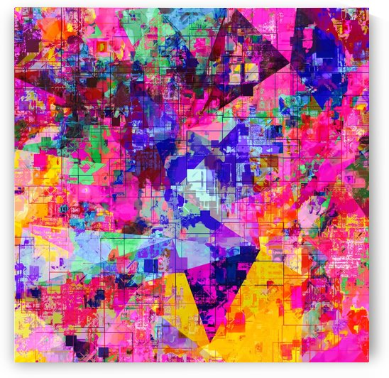colorful psychedelic geometric splash painting abstract background in pink blue yellow orange green by TimmyLA
