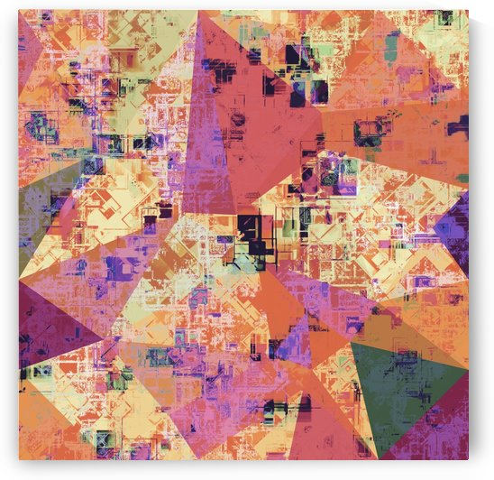 psychedelic geometric triangle polygon pattern abstract in pink orange purple brown by TimmyLA