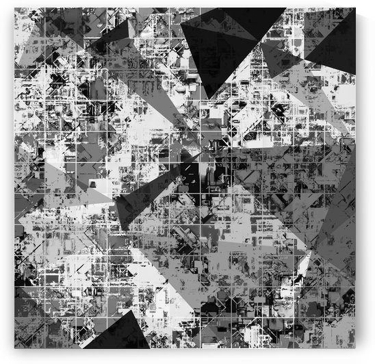 psychedelic geometric triangle polygon pattern abstract background in black and white by TimmyLA