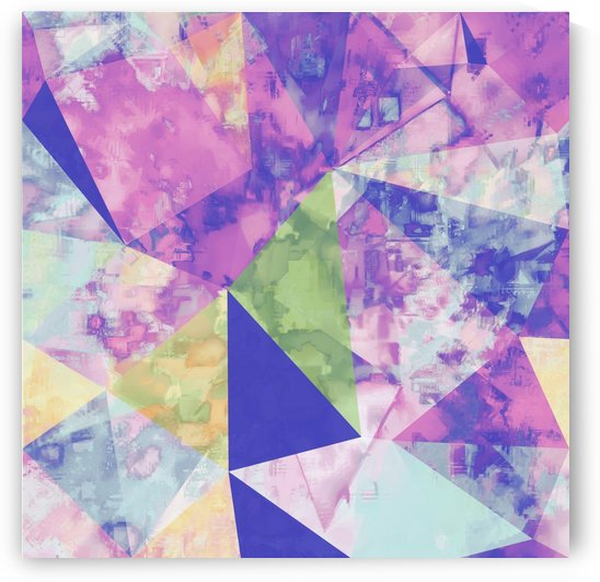psychedelic geometric triangle polygon pattern abstract background in pink purple blue yellow by TimmyLA