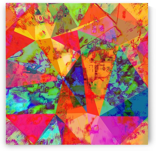 psychedelic geometric triangle polygon pattern abstract background in red orange blue green by TimmyLA