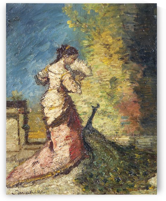 Femme au Paon by Adolphe Monticelli