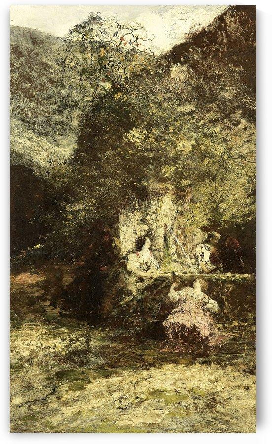 Figuren bij een fontein by Adolphe Monticelli