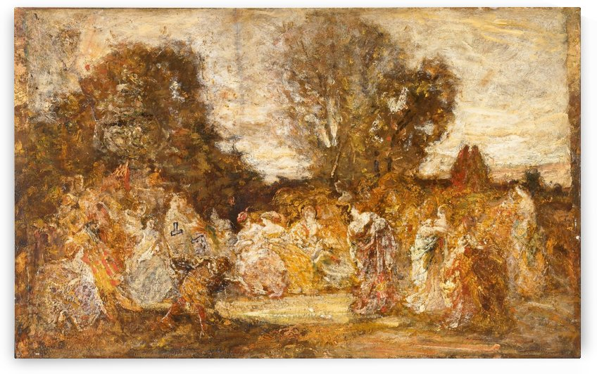 Ladies in a Garden by Adolphe Monticelli