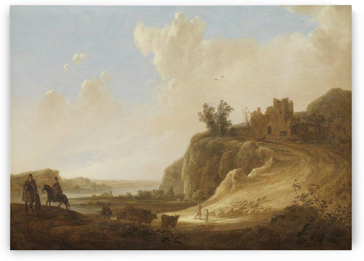 Bergachtig landschap met kasteelruïne by Aelbert Cuyp