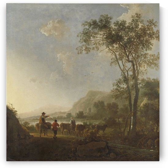 Landscape with herdsman and cattle by Aelbert Cuyp