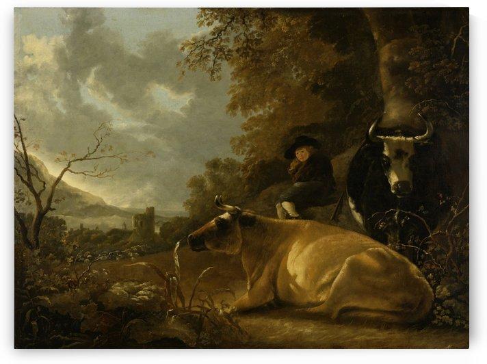 Landschap met koeien en herdersjongen by Aelbert Cuyp
