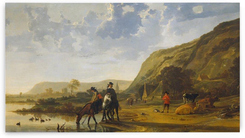 Rivierlandschap met ruiters by Aelbert Cuyp