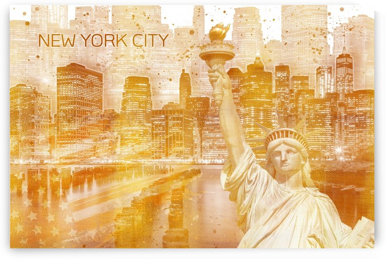 Graphic Art MANHATTAN Collage | golden by Melanie Viola