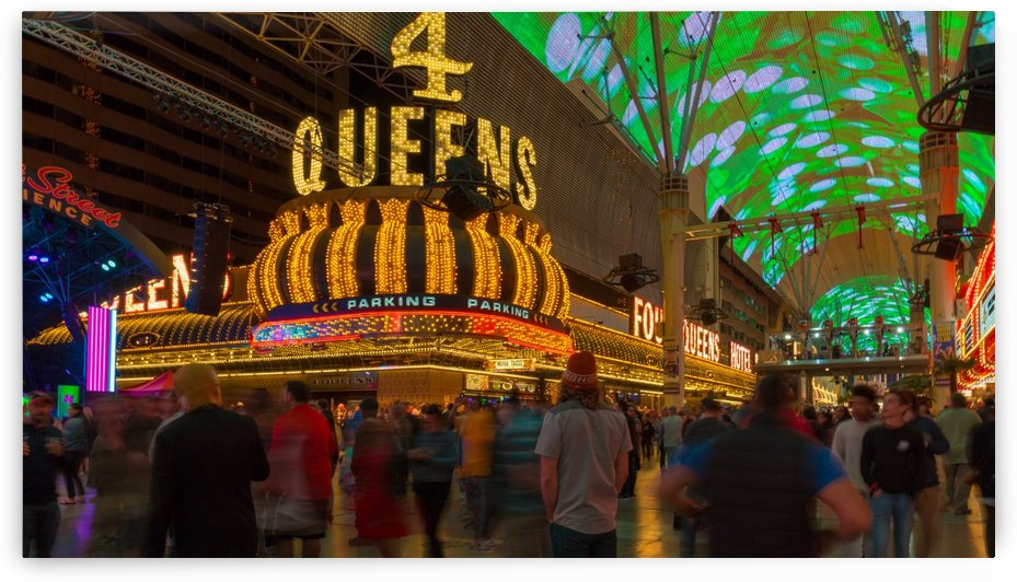 Busy Night Life on Fremont St. by Noah E Geist