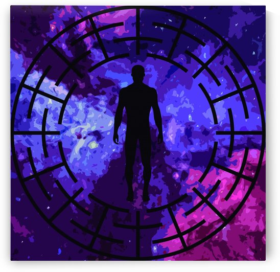 Black labyrinth man silhouette by Rosa C