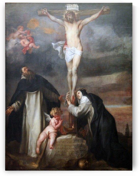 Christus aan het kruis met de heilige Catharina van Siena, de heilige Dominicus en een engel by Anthony van Dyck