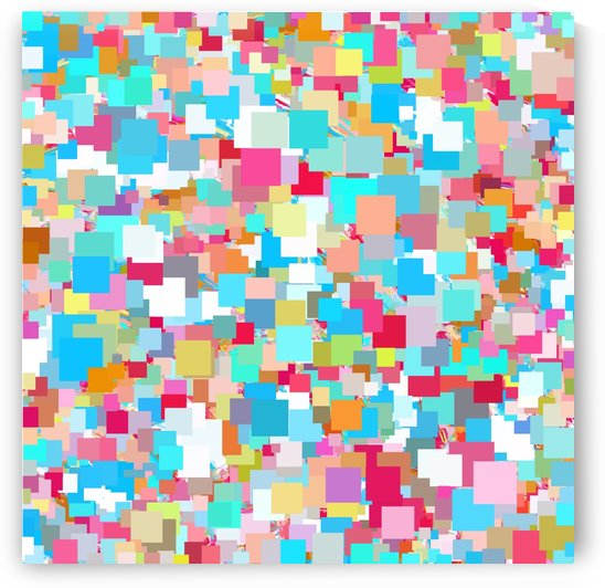 geometric square pixel pattern abstract background in blue pink orange green by TimmyLA