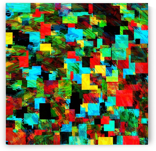 psychedelic geometric square pixel pattern abstract in red blue green yellow by TimmyLA