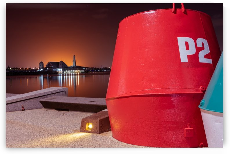 Orange lights with Geelong Pier and Buoys by Grant Cookson