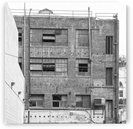 B&W Brick & Windows In Alley - DTLA  by Hold Still Photography