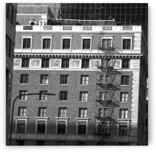 B&W Building Corner Figueroa and 6th Street by Hold Still Photography