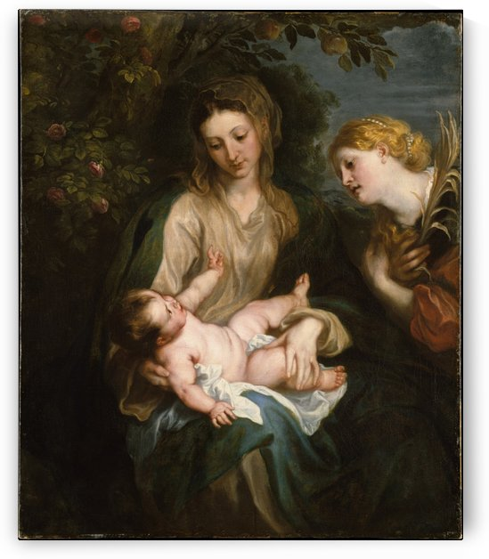 Madonna en kind met de Heilige Catharina van Alexandrie by Anthony van Dyck