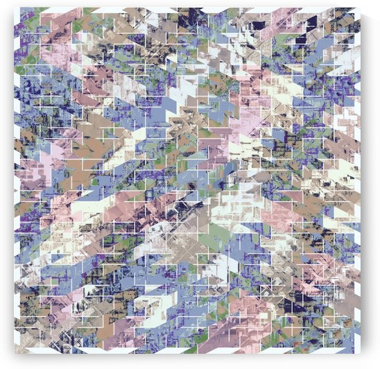 geometric square pattern abstract background in blue pink brown by TimmyLA