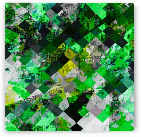vintage psychedelic geometric square pixel pattern abstract in green and yellow by TimmyLA