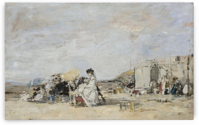 Lady in White on the Beach at Trouville by Eugene Boudin
