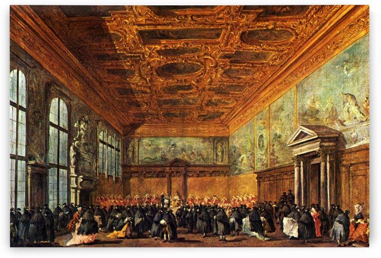 Ludienza accordata dal doge di Venezia nella sala del Collegio nel Palazzo Ducale by Francesco Guardi