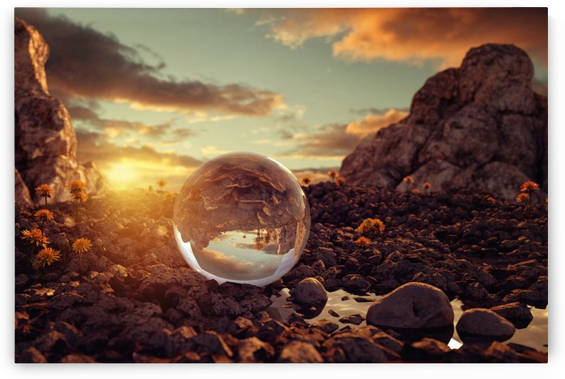 crystal ball on rocky terrain by Besa Art