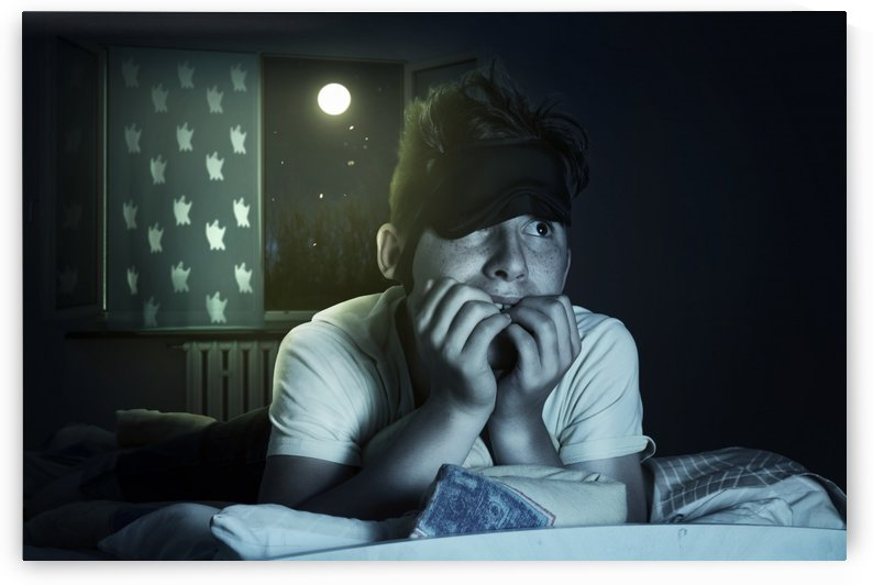 scared and sleepless boy chewing fingernails by Besa Art