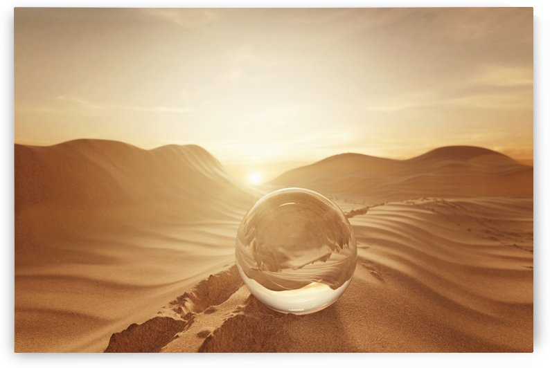 crystal ball on desert landscape by Besa Art