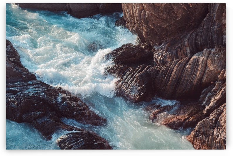Sea waves crashing against the rocks by Besa Art