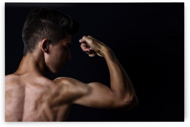 flexing biceps by Besa Art