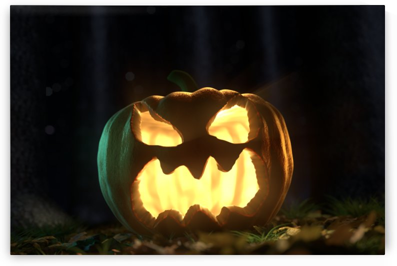 shiny halloween Jack-o-Lantern pumpkin by Besa Art